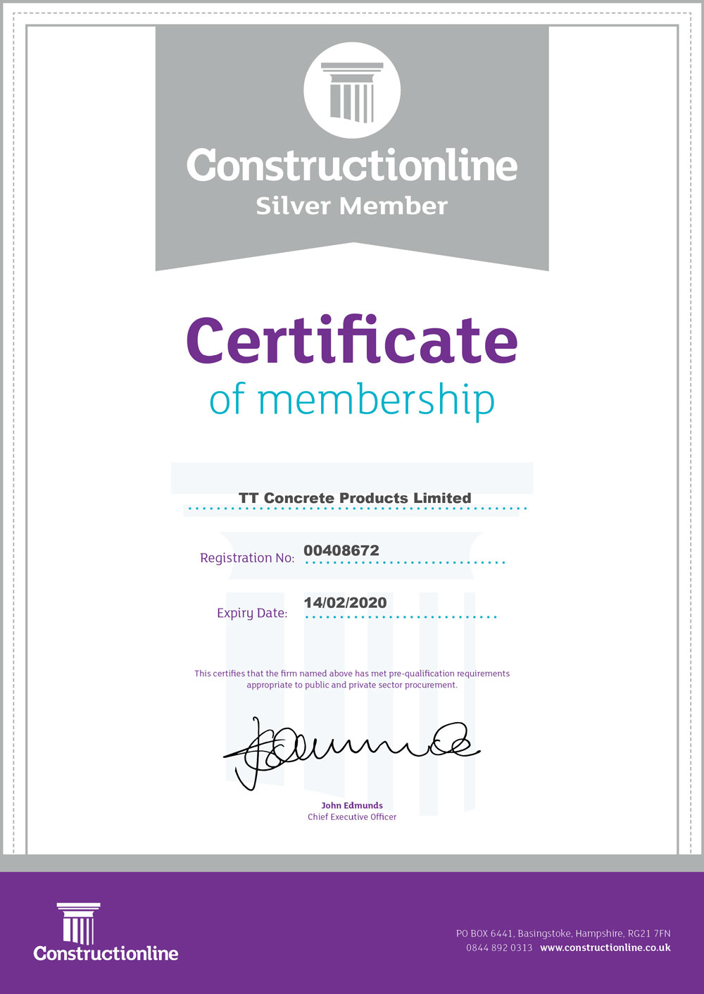 Construction Line Member Certificate