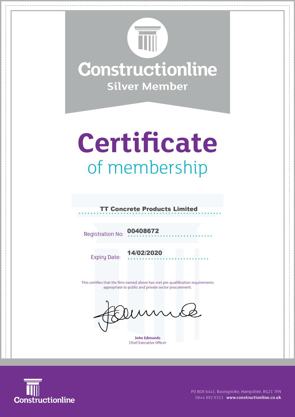 ConstructionLine Member Certificate